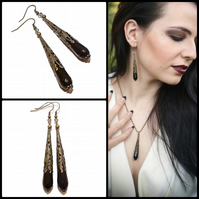 Gothic Black Onyx & Antique Brass Faceted Tear Drop Earrings