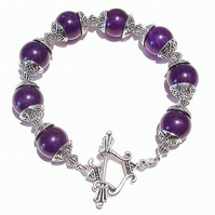 Purple Quartz Gemstone Handcrafted Bracelet 20.5cm