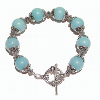 Aqua Blue Quartz Gemstone Handcrafted Bracelet 20.5cm