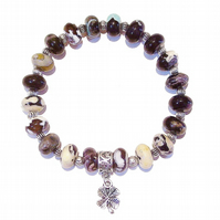 Multi-coloured Fire Agate Gemstone Stretch Bracelet Approx. 20cm
