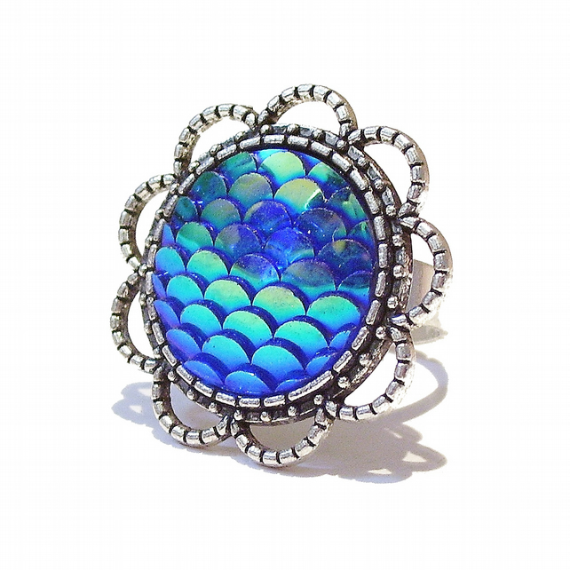 Large Blue Mermaid or Dragon Scale Filigree Ring - Adjustable