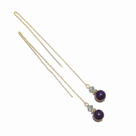 Gold Vermeil, Gemstone Long Drop Chain Ear Threads - Blue Lapis Lazuli & Crystal