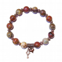 Impression Jasper Gemstone & Antique Copper Stretch Bracelet - Ap. 20.5cm