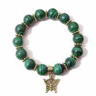 Green Malachite & Antique Gold-Tone Handcrafted Stretch Bracelet Approx. 21cm