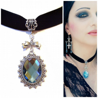 Sirenia Gothic Velvet Choker Necklace - Blue