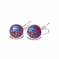 Mermaid or Dragon Scale Lever Back Earrings - Blue Red