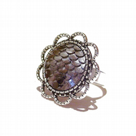 Large Grey Mermaid or Dragon Scale Filigree Ring - Adjustable