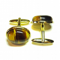 Gold Plated Semi-precious Gemstone Cufflinks - Brown Tiger's Eye