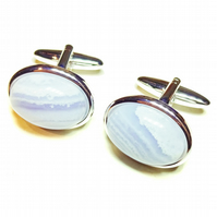 Semi-precious Gemstone Cufflinks - Blue Lace Agate