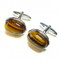 Semi-precious Gemstone Cufflinks - Brown Tiger's Eye
