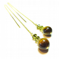 Gold Vermeil, Gemstone Long Drop Chain Ear Threads - Brown Tiger Eye & Crystal