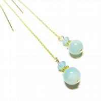 Gold Vermeil Gemstone Long Drop Chain Ear Threads - Amazonite & Crystal