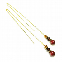 Gold Vermeil, Swarovski Long Drop Chain Ear Threads - Dark Burgundy & Copper