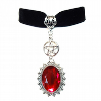 Sirenia Gothic Velvet Choker Necklace - Red