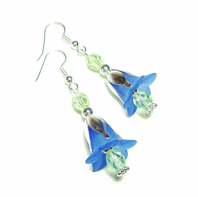 Vintage Style Lucite Flower Earrings - Pale Blue & Green