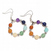 Semi-precious Rainbow Chakra Meditation Hoop Earrings - 25mm