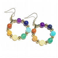 Semi-precious Rainbow Chakra Meditation Gold Plated Hoop Earrings - 25mm