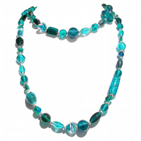 Boho Style Long Mixed Bead Necklace - Teal 39""