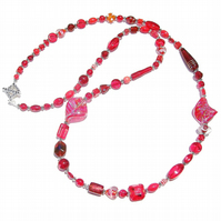 Boho Style Long Mixed Bead Necklace - Red 41""