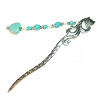 Fox Hair Stick with Gemstone Turquoise Heart & Beads