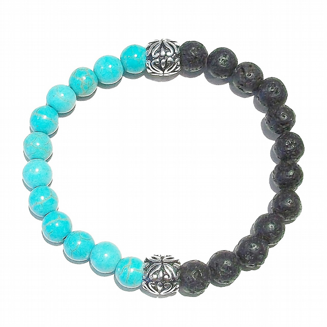 Men's Blue & Black Gemstone Essential Oil Diffuser Bracelet - Lava & Turquoise