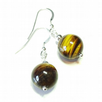 Brown Tiger's Eye Gemstone & Sterling Silver Ball Drop Earrings - 12mm