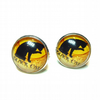Black Cat Cameo Silver Plated Glass Cufflinks