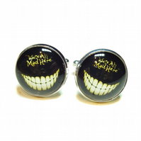 We're All Mad Here Cheshire Cat Black Glass Cufflinks