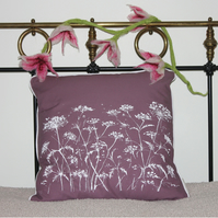 Screen-printed cow parsley cushion