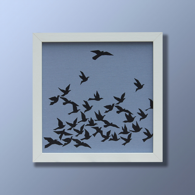 Blue flock of birds screen print picture