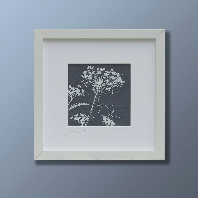 Dark blue and white cow parsley screen print picture (with mount)