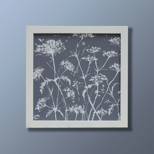 Dark blue and white cow parsley fabric screen print picture (no mount)