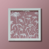 Dusky pink cow parsley fabric screen printed picture (no mount)