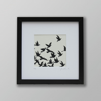 Flock of birds screen print picture (with mount)
