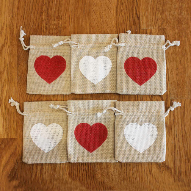Medium heart design gift bag, natural jute bag