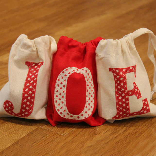 Initial letter gift or favour bags