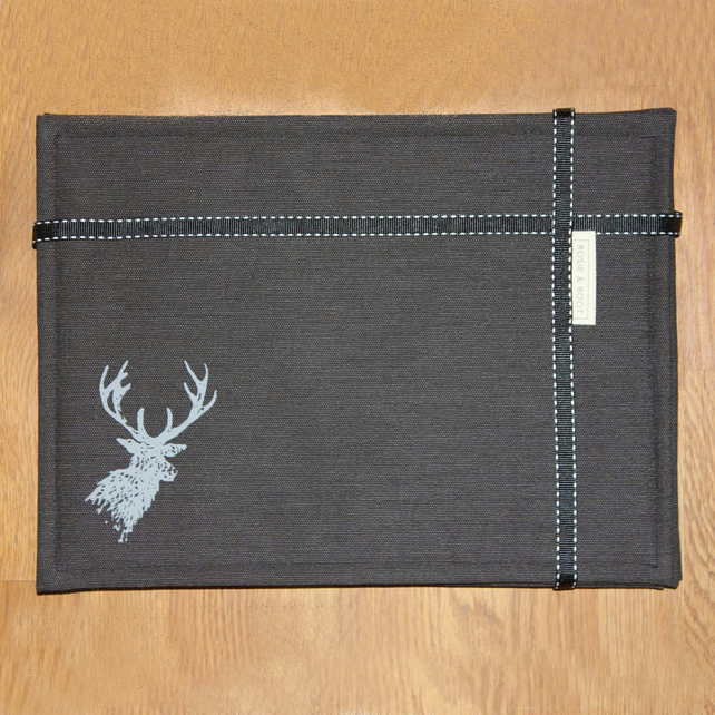 Stag design screen printed tablemats, set of four