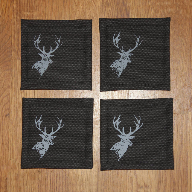Stag design screen printed coasters, set of four