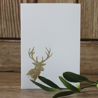 Set of six hand-printed stag design cards