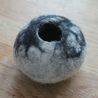 Black and white felted storage bowl