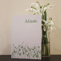 Handmade birthday card for Mum, snowdrop design