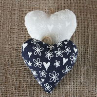Pair of lavender bags, heart-shaped hanging decorations
