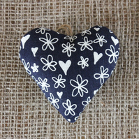 Lavender bag, blue linen with hearts and flowers design