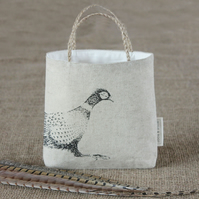 Hessian gift bag, Easter gift bag, pheasant design