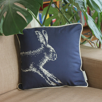 Screen printed navy blue cushion, leaping hare