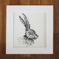 Father's Day gift, screen print of hare, artwork, art print