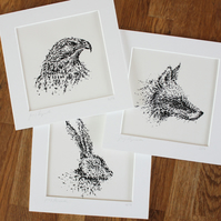 Set of three screen-printed animal pictures, Father's Day gift