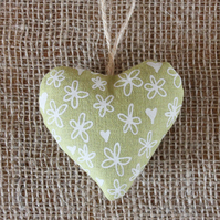 Lavender bag, green, hearts and flowers, heart shaped hanging decoration