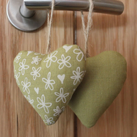 Pair of fabric heart decorations, lavender bags