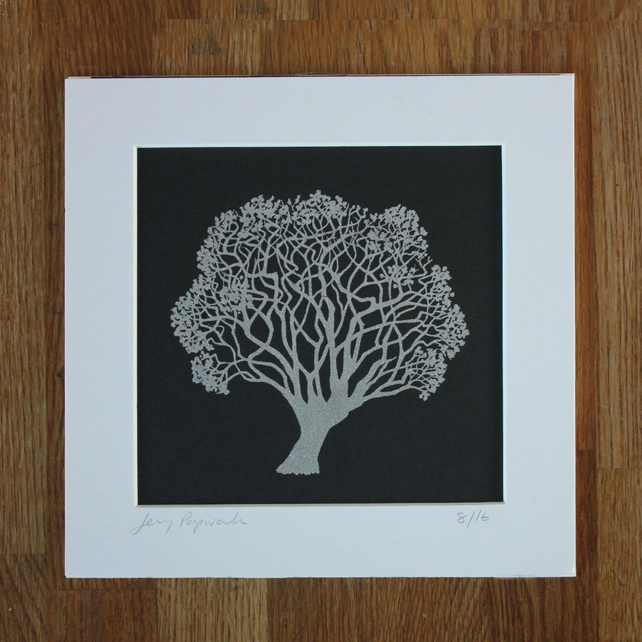 Father's day gift, silver screen print of tree, artwork, wall art